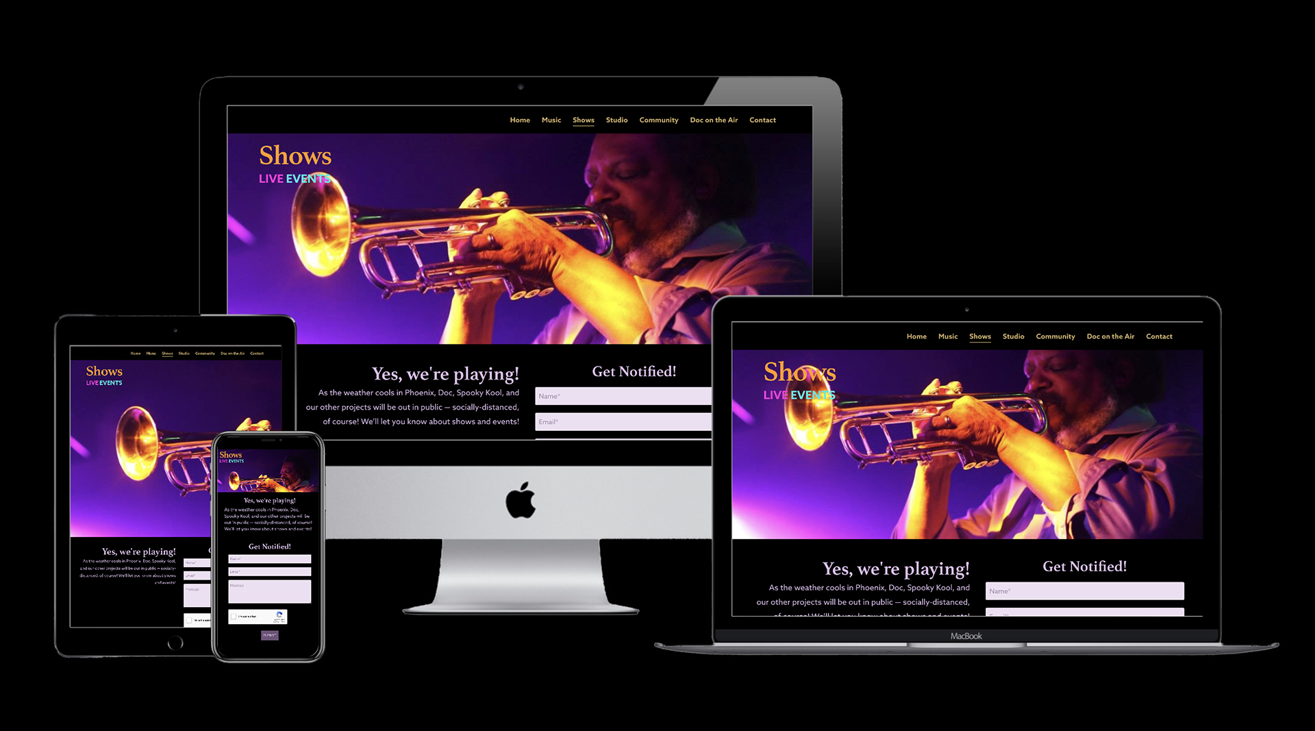 Graphic showing the Shows page on the website designed by Clamshell Communications for Gabriel Bey on four device screens