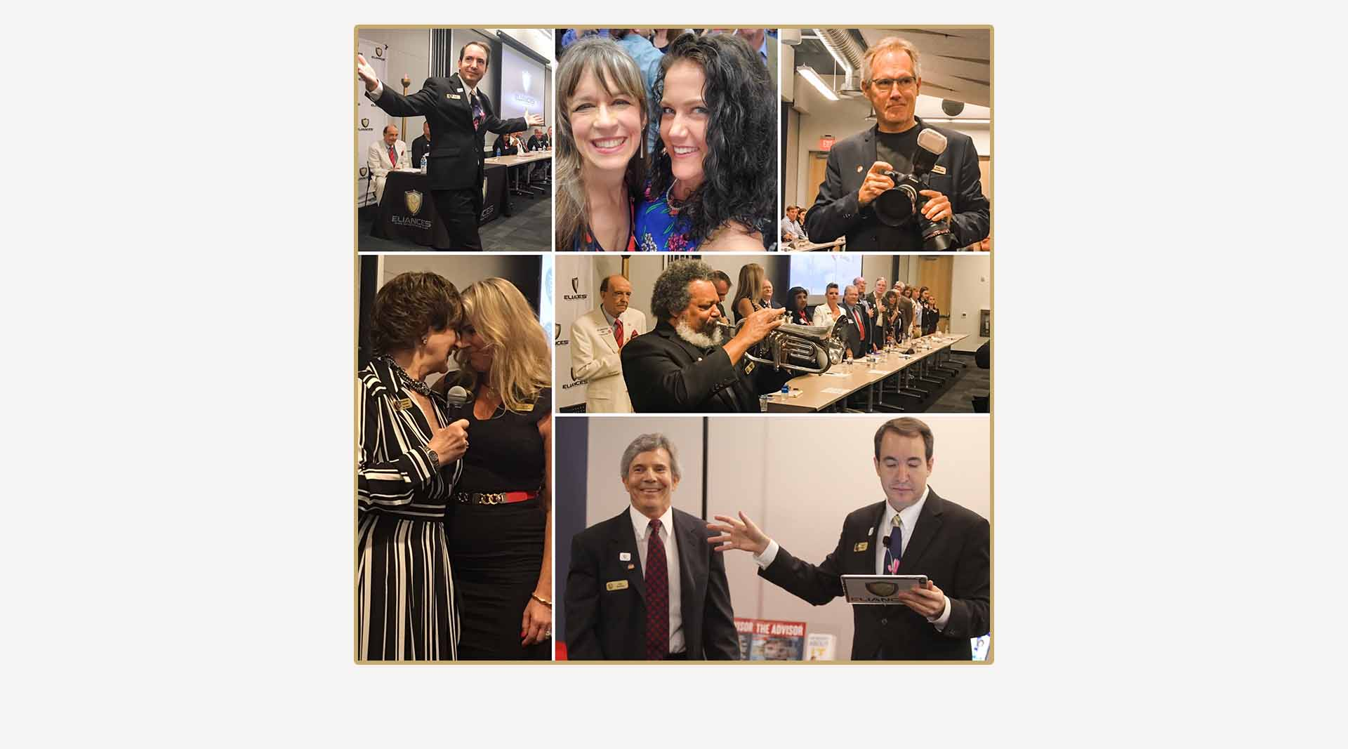 Photo collage of business networking event created by Clamshell Communications for Eliances