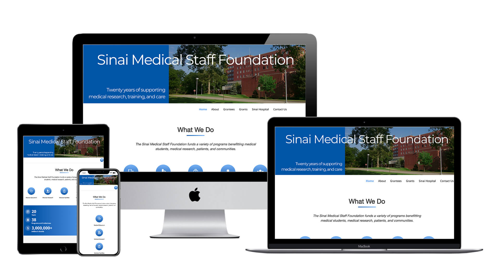 Graphic showing the website created by Clamshell Communications for the Sinai Medical Staff Foundation on four device screens