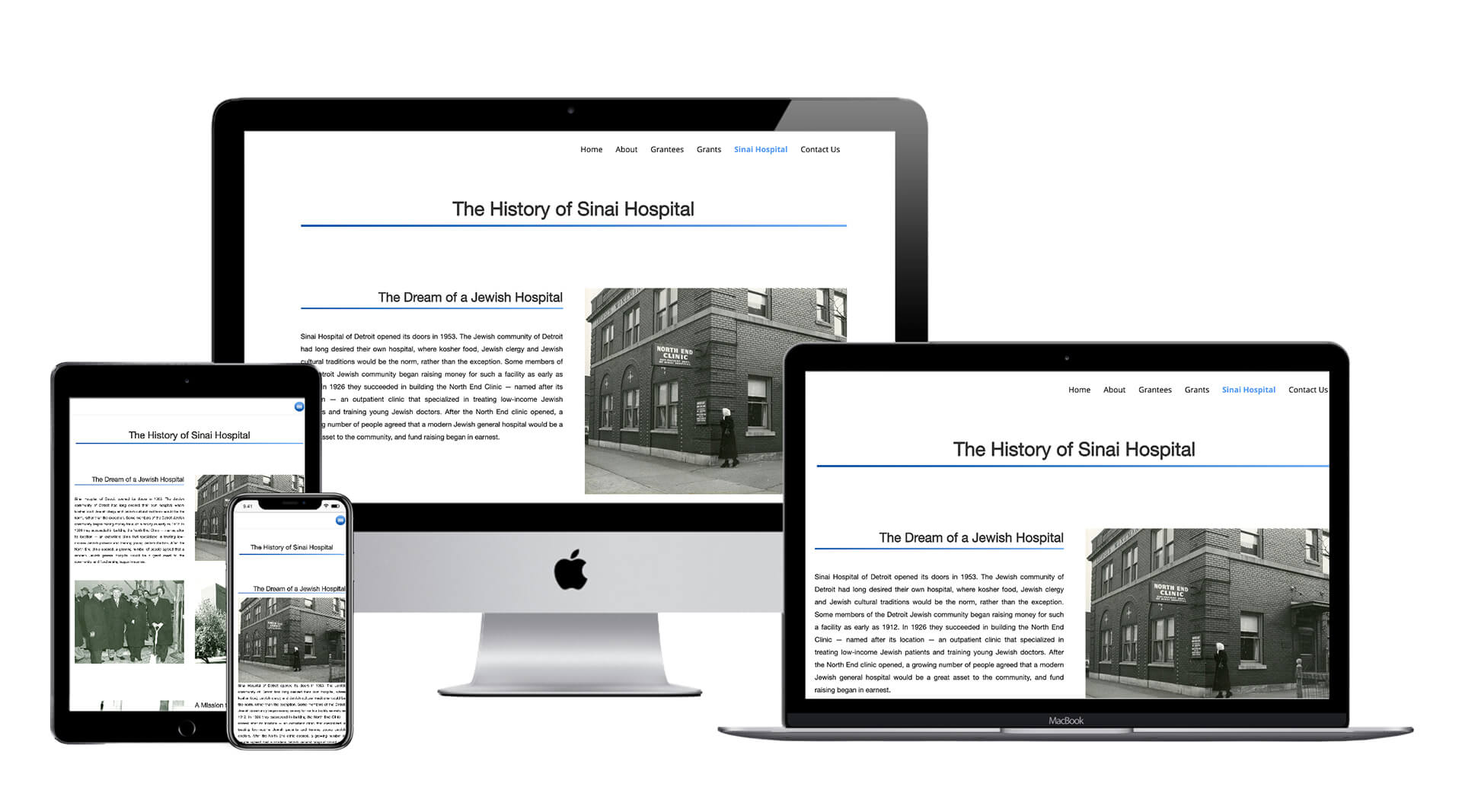 Photo of the History of Sinai Hospital Page on the website created by Clamshell Communications for the Sinai Medical Staff Foundation on four device screens