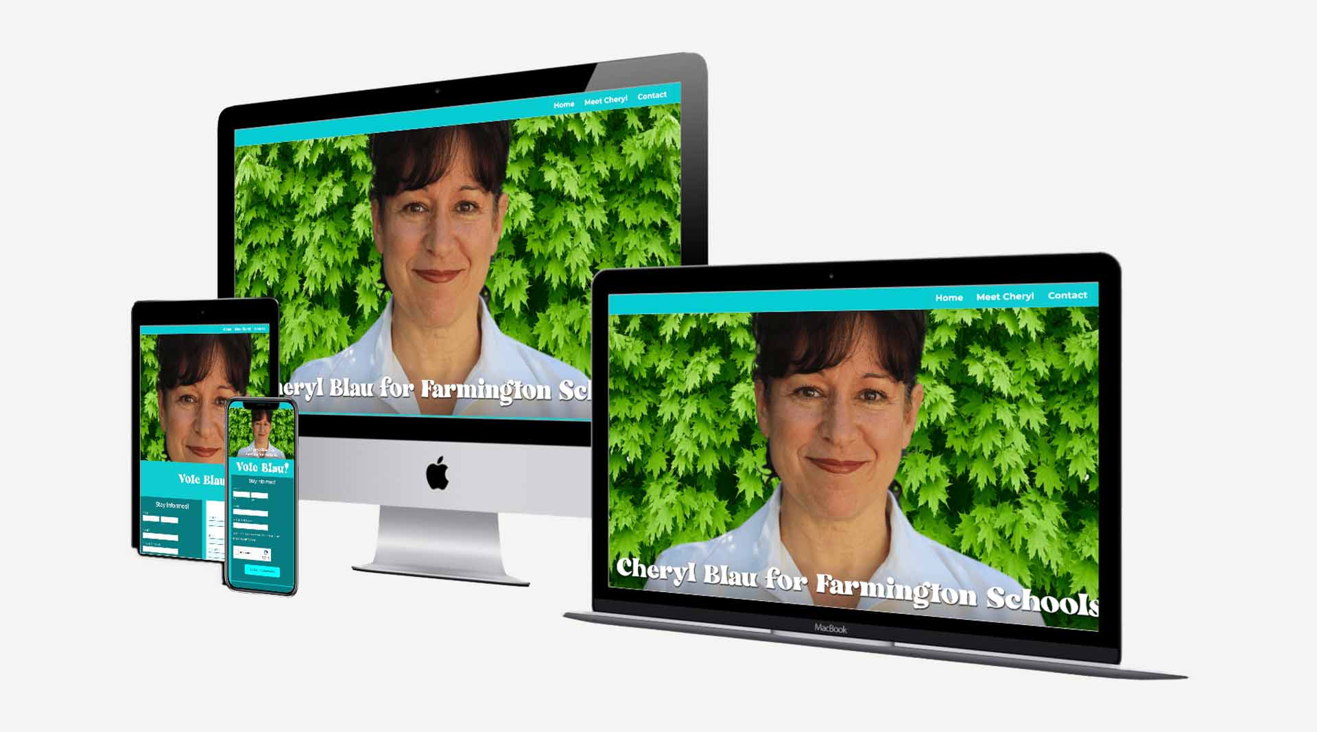 Graphic showing the website created by Clamshell Communications for Cheryl Blau on four device screens